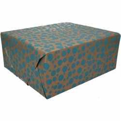 Inpakpapier bruin blauwe stippen print 200 bij 70 op rol