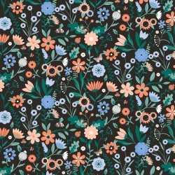 Inpakpapier/cadeaupapier bloemen 200 bij 70 zwart/gekleurd