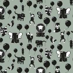 Inpakpapier/cadeaupapier happy animals 200 bij 70 groen/zwart