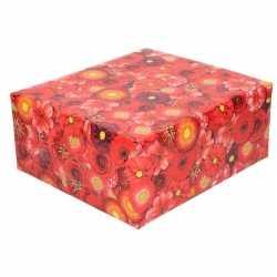 Inpakpapier/cadeaupapier rood bloemen print 200 bij 70