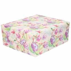 Inpakpapier/cadeaupapier tropische bloemen vogel 200 bij 70