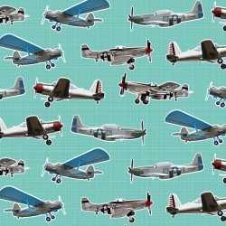 Inpakpapier/cadeaupapier vliegtuigen 200 bij 70 mintgroen