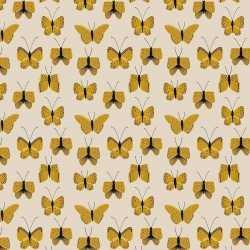 Inpakpapier/cadeaupapier vlinder 200 bij 70 beige/geel