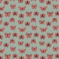Inpakpapier/cadeaupapier vlinder 200 bij 70 groen/rood