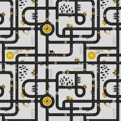 Inpakpapier/cadeaupapier wegen speelkleed 200 bij 70 grijs/geel