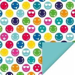 Inpakpapier gekleurde smileys 200 bij 70 op rol