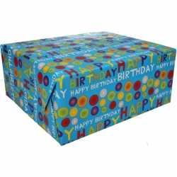 Inpakpapier happy birthday 200 bij 70 op rol
