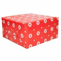 Inpakpapier rood bloemen 70 bij 200