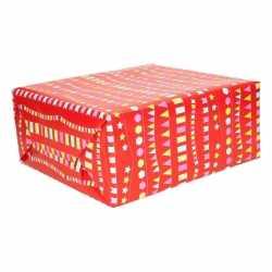 Inpakpapier rood vlaggenlijnen 200 bij 70