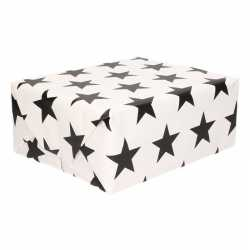 Inpakpapier wit zwarte sterren 200 bij 70 op rol