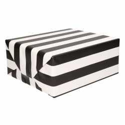 Inpakpapier zwart wit gestreept 200 bij 70 op rol