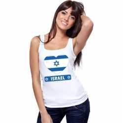 Israel hart vlag singlet shirt/ tanktop wit dames