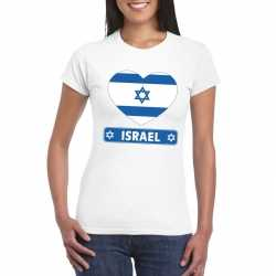 Israel hart vlag t shirt wit dames