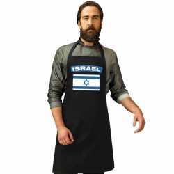 Israel vlag barbecueschort/ keukenschort zwart volwassenen
