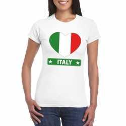 Italie hart vlag t shirt wit dames