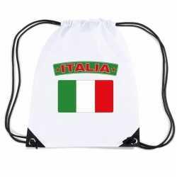 Italie nylon rugzak wit italiaanse vlag