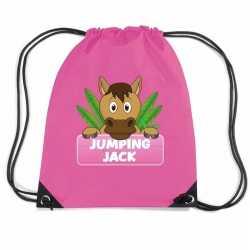 Jumping jack paarden rugtas / gymtas roze kinderen