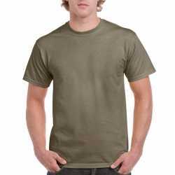 Kaki groene katoenen shirt volwassenen