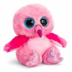 Keel toys roze pluche flamingo knuffel 25 kraalogen