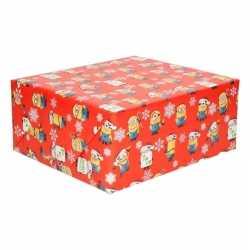 Kerst inpakpapier minions rood 200 bij 70 op rol