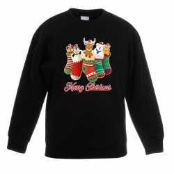 Kersttrui kerstsokken merry christmas zwart kinderen