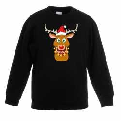 Kersttrui rendier rudolf rode kerstmuts zwart kinderen
