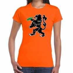 Koningsdag t shirt oranje bier drinkende leeuw dames