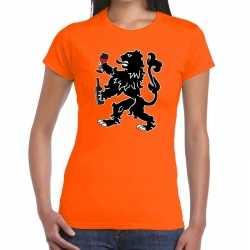 Koningsdag t shirt oranje wijn drinkende leeuw dames
