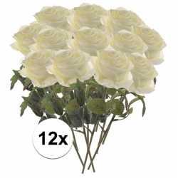 Kunstbloem roos simone wit 45 12 stuks