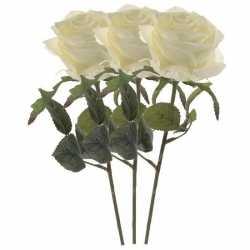 Kunstbloem roos simone wit 45 3 stuks