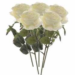 Kunstbloem roos simone wit 45 5 stuks