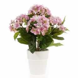 Kunstplant hortensia roze in witte pot 37