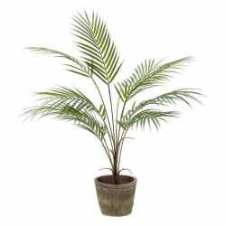 Kunstplant palm groen in oude ronde terracotta pot 70