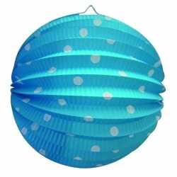 Lampion blauw witte stippen 23
