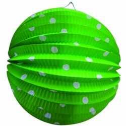 Lampion groen witte stippen 23