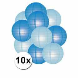 Lampionnen pakket blauw lichtblauw 10x