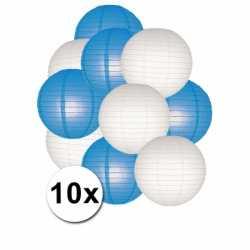 Lampionnen pakket blauw wit 10x