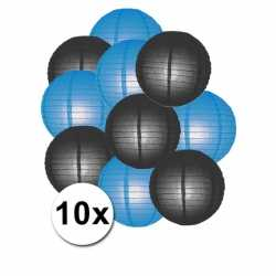 Lampionnen pakket blauw zwart 10x