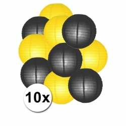 Lampionnen pakket geel zwart 10x