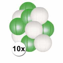 Lampionnen pakket groen wit 10x