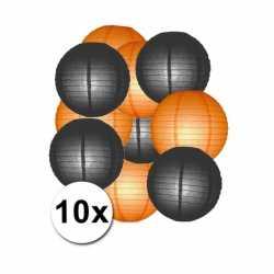 Lampionnen pakket oranje zwart 10x