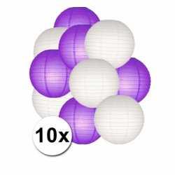 Lampionnen pakket paars wit 10x