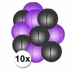 Lampionnen pakket paars zwart 10x