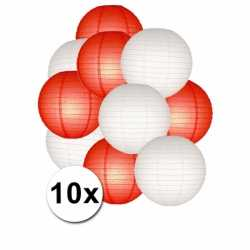 Lampionnen pakket rood wit 10x