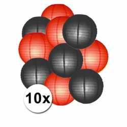 Lampionnen pakket rood zwart 10x