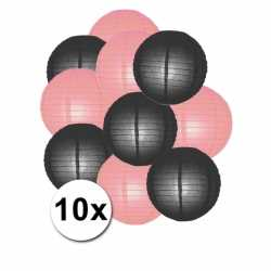 Lampionnen pakket roze zwart 10x