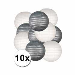 Lampionnen pakket zilver wit 10x