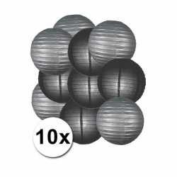 Lampionnen pakket zilver zwart 10x