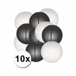 Lampionnen pakket zwart wit 10x