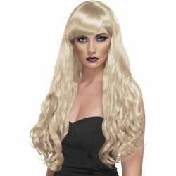Lange blonde damespruik krullen pony
